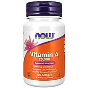 Витамин А, Vitamin A, Now Foods, 25,000 МЕ, 100 желатиновых капсул