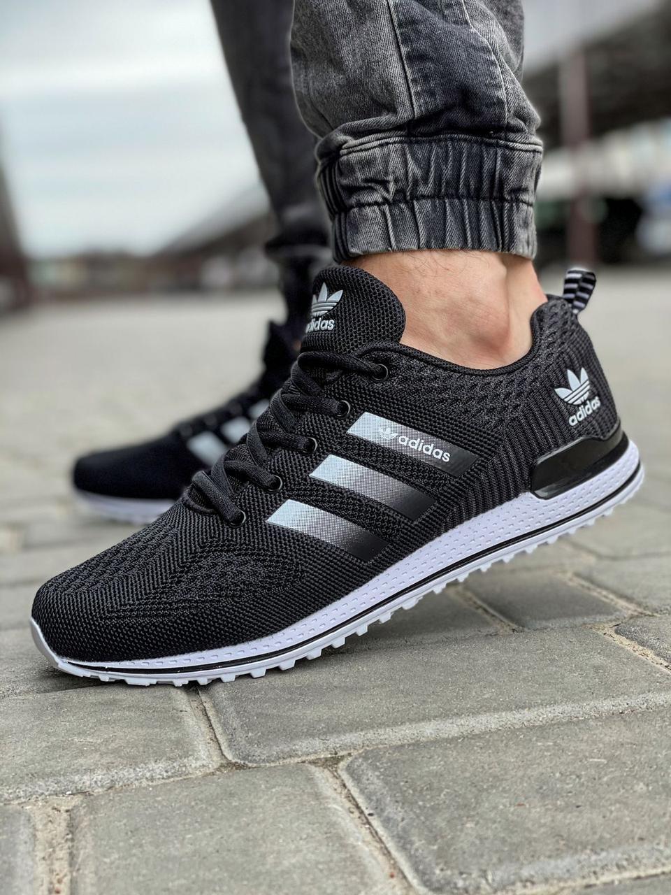 Кроссовки мужские 18591, Adidas, черные [ 44 46 ] р.(41-26,5см)