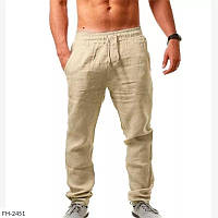 Брюки штаны мужские летние льняные пляжные модные