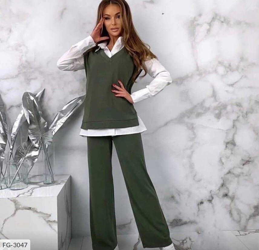 Костюм брючный модный тройка с рубашкой и жилеткой из двух-нитки р-ры 42-44,44-46 арт 314