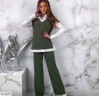 Костюм брючный модный тройка с рубашкой и жилеткой из двух-нитки р-ры 42-44,44-46 арт 314, фото 1