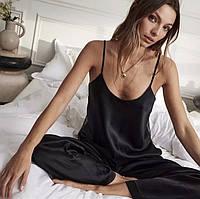 Женская стильная шелковая пижама: майка и штаны, фото 1