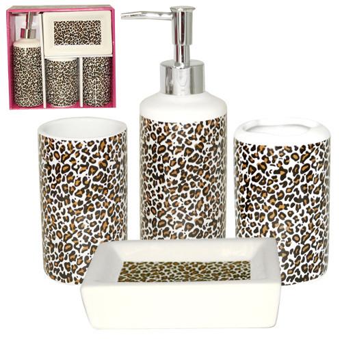 Набор аксессуаров для ванной комнаты 4 предмета Леопард Snt 888-06-014