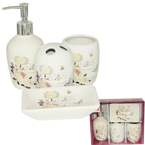Набор аксессуаров для ванной комнаты 4 предмета Цветы Snt 888-06-001
