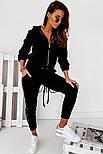 Жіночий спортивний велюровий костюм на манжетах, фото 2