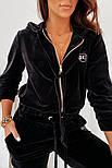 Жіночий спортивний велюровий костюм на манжетах, фото 4