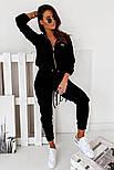 Жіночий спортивний велюровий костюм на манжетах, фото 7
