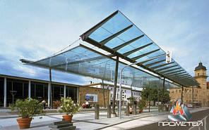 Навес из нержавеющей стали и поликарбоната для автовокзалов, автостоянок, велопарковок