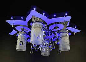 Люстра стельова Космос з кольоровий LED підсвічуванням і авто відключенням з пультом 5561/4+1 Чорний 19х52х52 див.