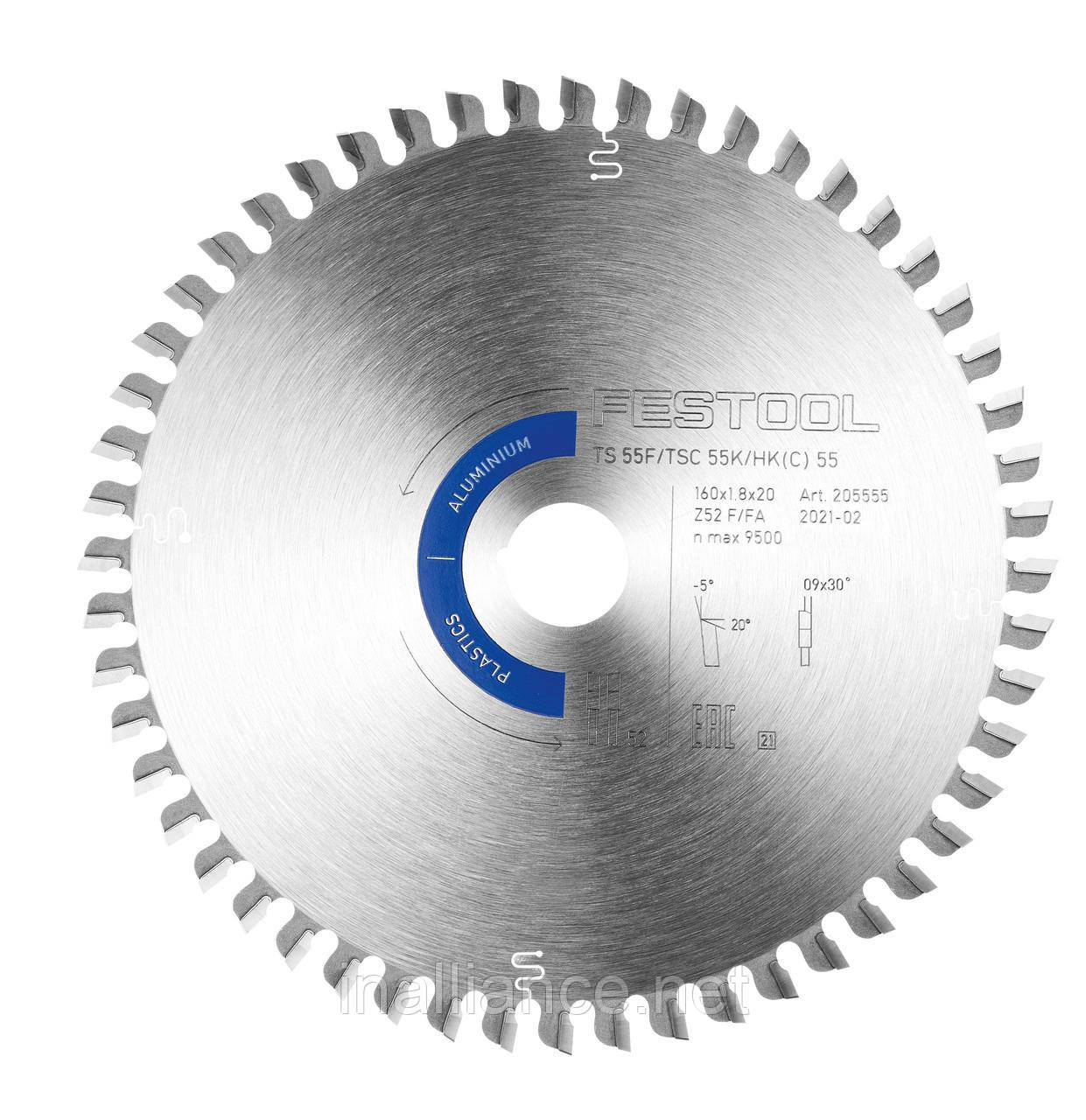 Пиляльний диск ALUMINIUM / PLASTICS HW 160 x1,8 x 20 F/FA52 Festool 205555