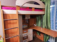 Детская кровать-чердак с рабочей зоной и угловым шкафом К6 Merabel