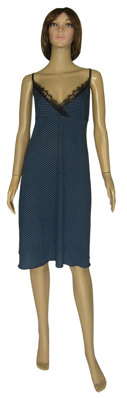 Ночная рубашка женская трикотажная с кружевом 21018 Fia коттон / гипюр Темно-синяя