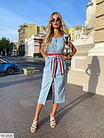 Стильное женское платье-рубашка за колено из тонкого джинса с поясом р-ры 42-48 арт. 415