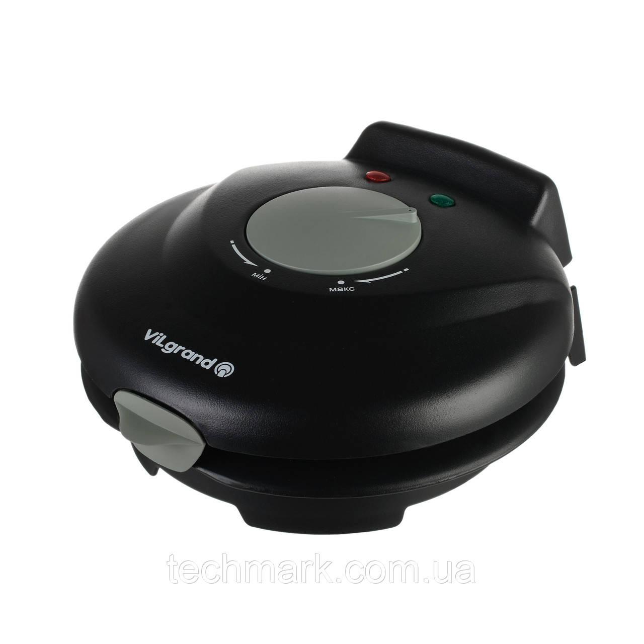 Вафельница VILGRAND VW0754C для тонких вафель и трубочек + конус для рожков Черный
