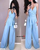 Ошатний стильний жіночий комбінезон брючний з брюками-кльош на літо арт 9871