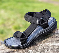 Спортивные сандалии мужские босоножки пенка пляжные летние на липучке текстиль черные 42 размер Restime 21222