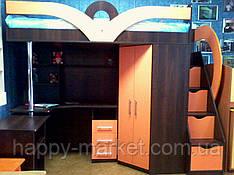 Детская кровать-чердак с рабочей зоной, угловым шкафом и лестницей-комодом КЛ6-2 Merabel