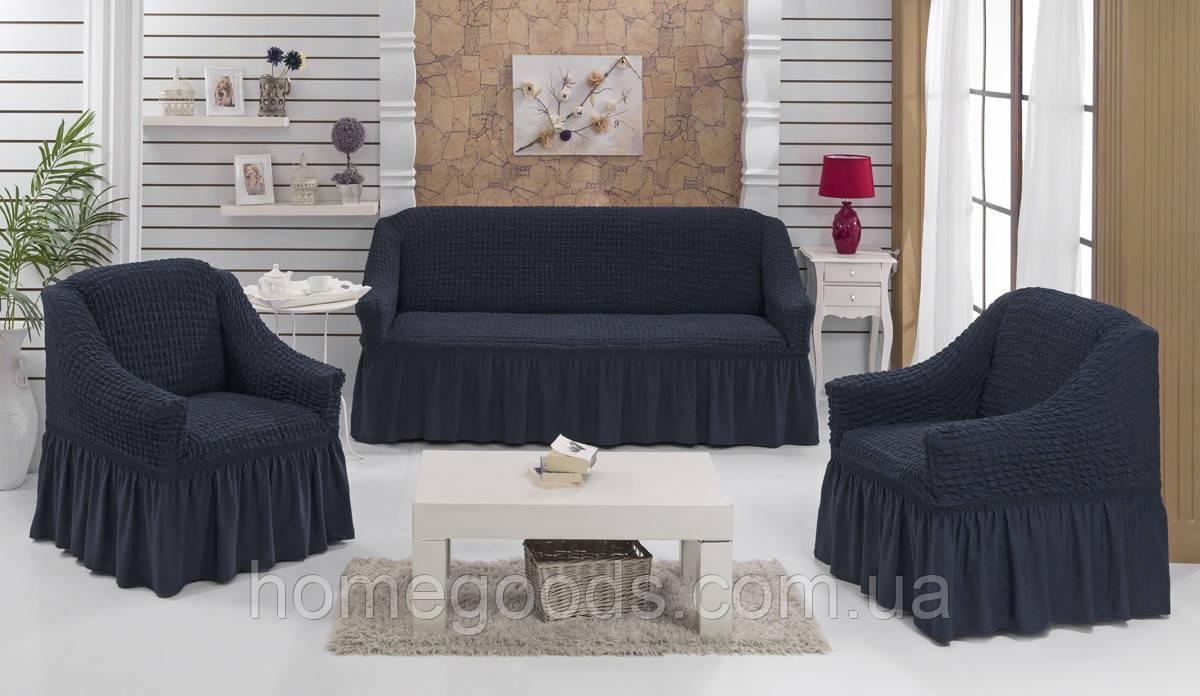 Чохол на тримісний диван і два крісла графітовий