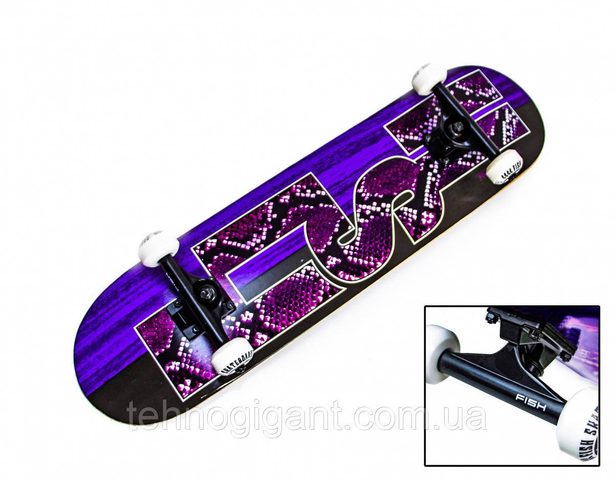 СкейтБорд деревянный для трюков Fish Skateboard Snake Skin с рисунком, с усиленной подвеской канадский клен