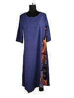 Платье длинное летнее хлопок-лен размер 50 синее C3069-ХХXL, фото 1