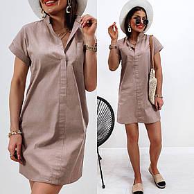 Летнее легкое льняное женское платье Большого размера короткий рукав