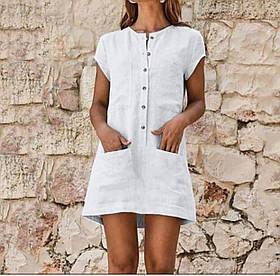 Свободное летнее льняное платье  Размеры 42-46, 48-52