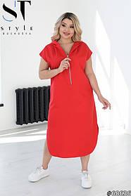 Длинное Летнее платье макси с капюшоном Больших размеров