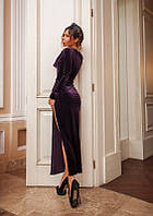 Классическое строгое бархатное платье с разрезом 3 цвета