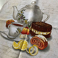 Полотенце хлопок с чайником, чашкой и лимоном 45х70 см