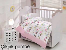 """Постель в детскую кроватку (для новорожденных) ранфорс """"Cikcik Pembe"""" Altinbasak Турция"""