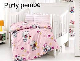 """Постель в детскую кроватку (для новорожденных) ранфорс """"Puffy Pembe"""" Altinbasak Турция"""