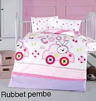 """Постель в детскую кроватку (для новорожденных) ранфорс """"Rubbet Pembe"""" Altinbasak Турция"""