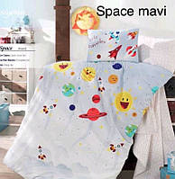 """Постель в детскую кроватку (для новорожденных) ранфорс """"Space Mavi"""" Altinbasak Турция"""