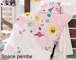 """Постель в детскую кроватку (для новорожденных) ранфорс """"Space Pembe"""" Altinbasak Турция"""