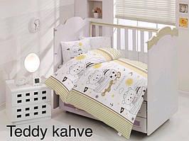 """Постель в детскую кроватку (для новорожденных) ранфорс """"Teddy Kahve"""" Altinbasak Турция"""