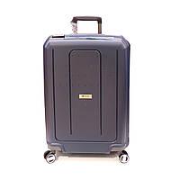 Большой ударопрочный чемодан на защелках из полипропилена Airtex Jupiter синий, фото 1