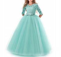 Пышное вечернее платье для девочки с кружевом и рукавами на выпускной Д-22668-2
