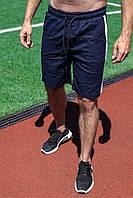Шорты мужские летние льняные Line синие | Спортивные шорты бриджи мужские с лампасами ЛЮКС качества