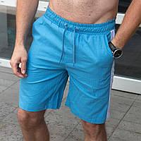 Шорты мужские летние льняные Line голубые | Спортивные шорты бриджи мужские с лампасами ЛЮКС качества