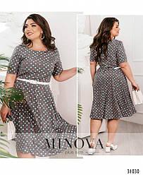 Стильное платье плюс сайз без карманов большого размера 50, 52, 54, 56