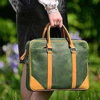 Женский портфель из зеленой кожи крейзи хорс Issa Hara арт. BG14(37-34)