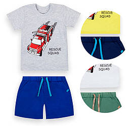 Детский костюм для мальчика:  футболка короткий рукав+шорты,  кулир,  KS-21-6-2, GABBI (размер р.110)