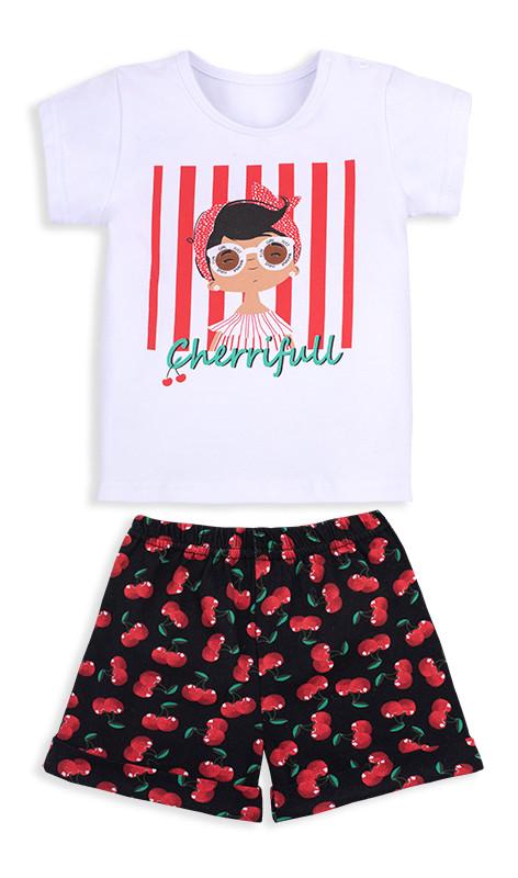 Детский костюм для девочки: футболка короткий рукав+шорты, Тутти-Фрутти, кулир, KS-20-14-1, GABBI (размер