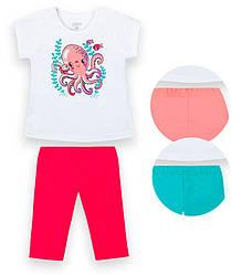 Детский костюм для девочки: футболка короткий рукав+капри,  улир, KS-21-5, GABBI (размер р.74)