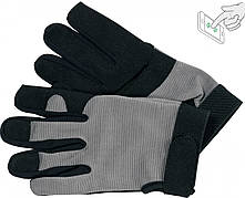 Рукавички робочі чорно-сірі YATO, для сенсорних екранів, штучна шкіра + бавовняний трикотаж, розмір 8