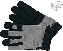 Рукавички робочі чорно-сірі YATO, для сенсорних екранів, штучна шкіра + бавовняний трикотаж, розмір 9