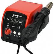 Фен-мережева станція YATO: 750 Вт, t°= 100 - 500°С, повітряний потік - 120 л/хв, LCD табло, 4 форсунки