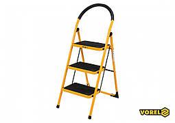 Сходи складна металева VOREL 3 ступені 36 х 26 см з протиковзкою прокладкою 115 х 47х 65 см
