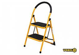 Сходи складна металева VOREL 2 ступені 36 х 26 см з протиковзкою прокладкою 90 х 47 х 49 см