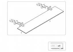 Полиця скляна настінна FALA 52 см кріплення дюбель/шуруп